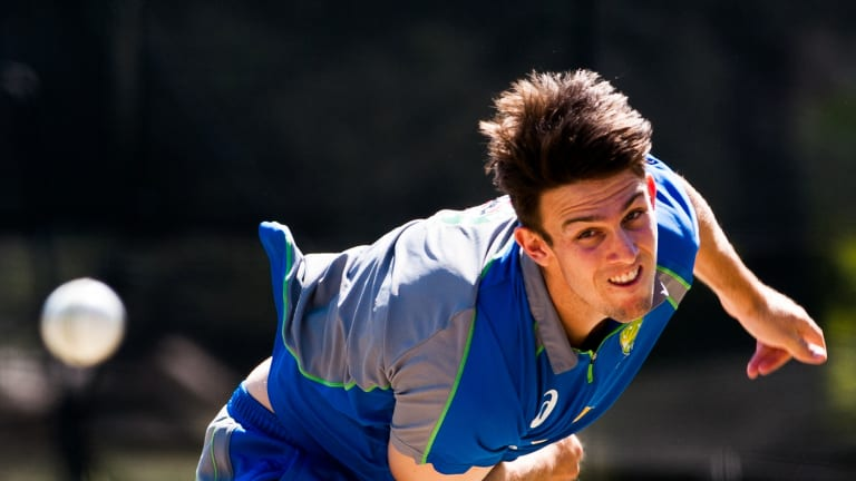 All-round talent: Mitchell Marsh is ready to deliver with the bat and ball if called up for the Perth Test.