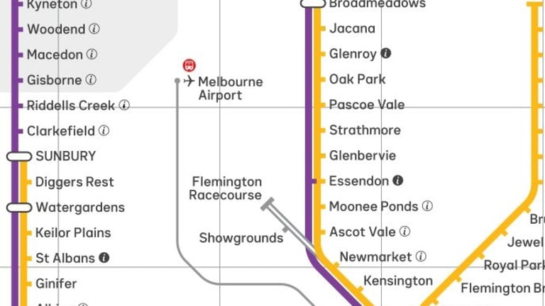 The Flemington Racecourse and Showgrounds lines are also marked in grey, to represent their seasonal operation.
