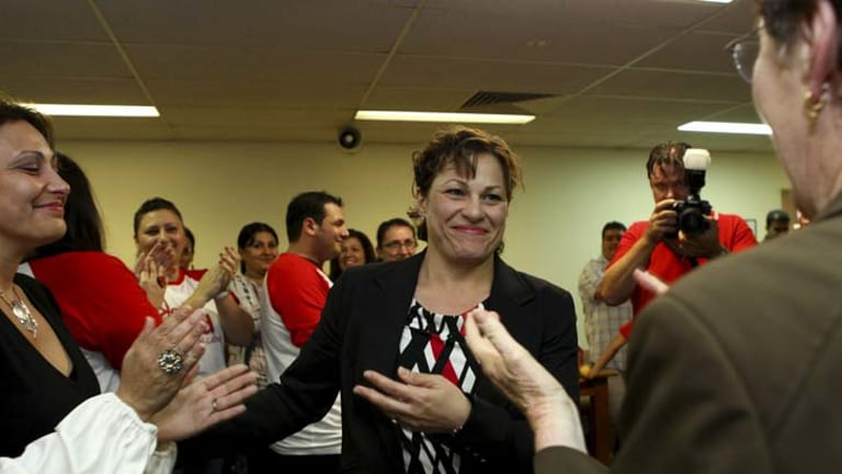 Labor candidate for South Brisbane Jackie Trad arrives at the TLC Building in South Brisbane.