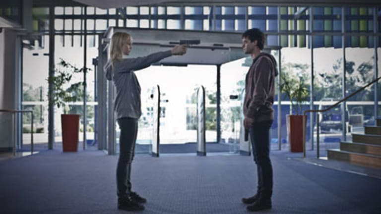 """Violent and horrible and bitter"" ... Adelaide Clemens and Oliver Ackland in Ben C. Lucas's dramatic examination of adolescent cruelty."