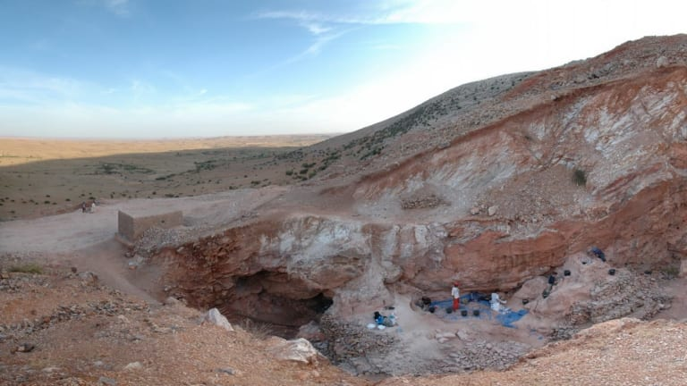 The view south across the Jebel Irhoud site in Morocco, where the oldest human remains were discovered.