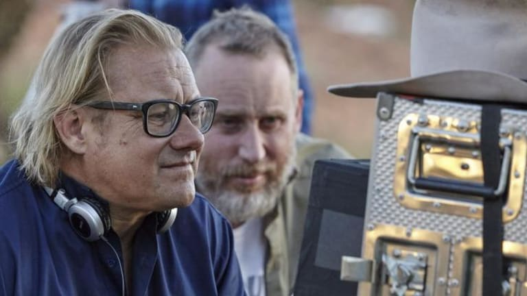 Director Kriv Stenders and producer Nelson Woss on the set of <i>Blue Dog</i> in Karratha.