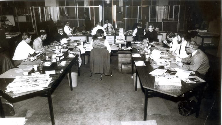 <i>The Age</i> has had a long and proud history of editorial independence. Pictured is the sub-editors' desk in 1971.