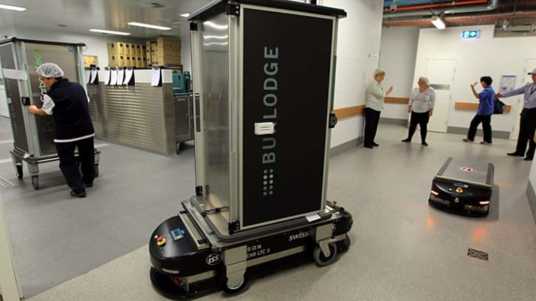 Behind-the-scenes machines … the automated guided vehicles at Royal North Shore Hospital, which move linen and food.