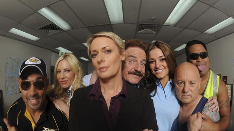 Eclectic career ... Anderson with the cast of SBS TV's <i>Swift and Shift Couriers</i>.