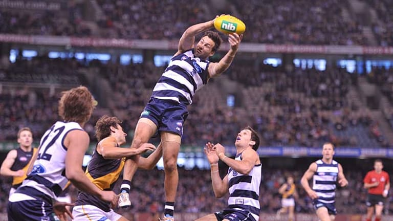 Flying solo: James Bartel takes a clever mark to set up another Cat attack.
