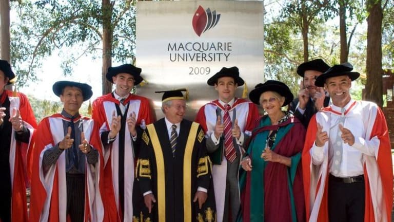 The Wiggles receive a honorary doctrate at Macquarie University.