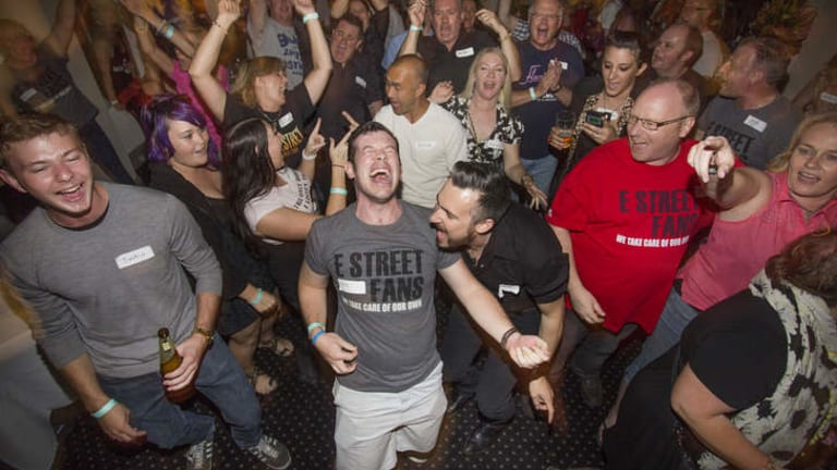Glory days: Bruce Buds' Iain Muir (air guitar) and mate Dave Wright at Coopers Inn.