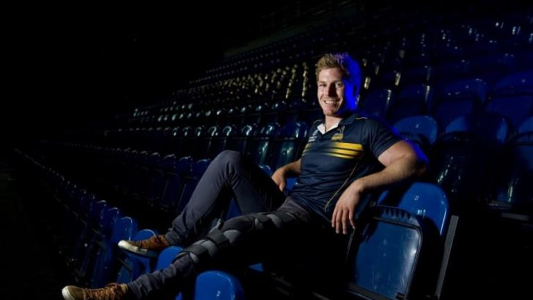 Brumbies Player David Pocock after reconstructive surgery on his knee.