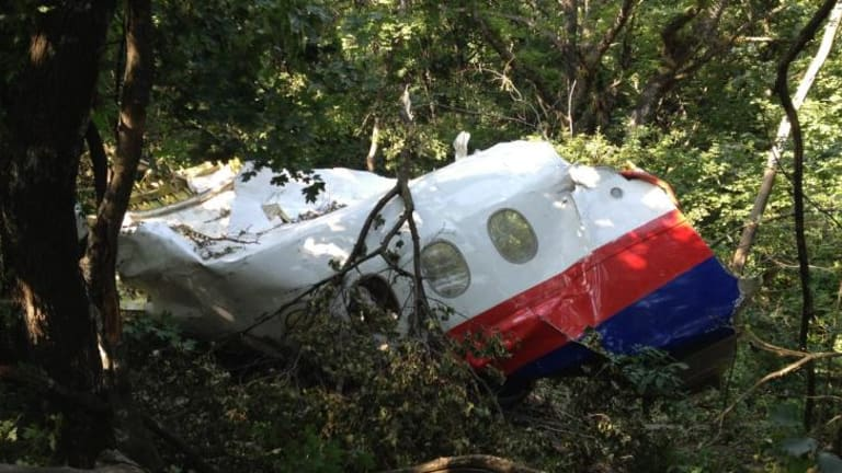 MH17 fuselage section discovered by OSCE-led an Australian and Malaysian team at the crash site.