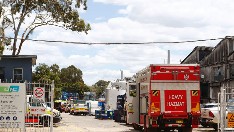 Three men were trapped in an ink vat at a factory in Auburn on Thursday morning, sparking an emergency response from police, ambulance and fire crews.