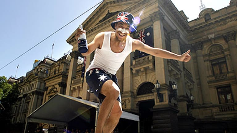 Aussie pride was everywhere, including in the city parade along Swanston Street.