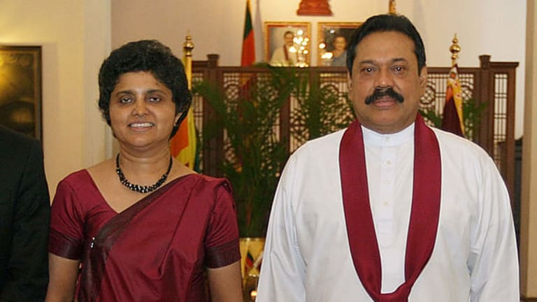 Falling out ... President Mahinda Rajapakse  with Shirani Bandaranayake in May 2011, soon after she was appointed as Sri Lanka's first woman chief justice.