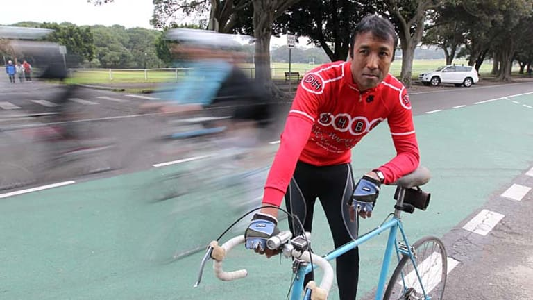 Video told the real story ... Marc Rerceretnam back on the road at Centennial Park.