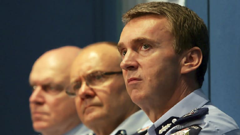 Sir Ken Jones (above right) at the announcement last week of Victoria Police's new hierarchy, pictured with Deputy Commissioner   Ken Lay (centre) and Deputy Commissioner Kieran Walshe (left).