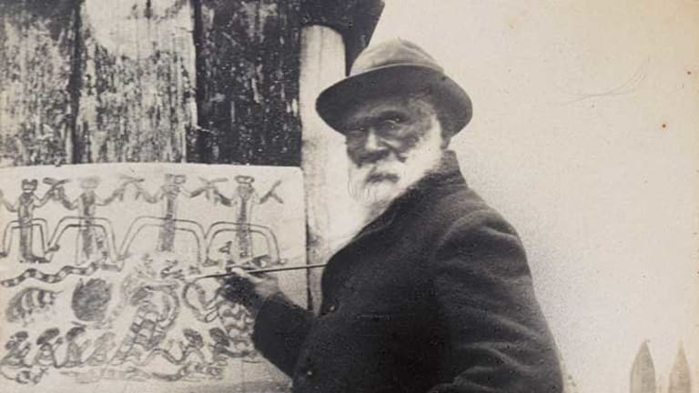 William Barak, Wurundjeri Ngurungaeta (clan head) and spokesperson who led the campaign to save Coranderrk, drawing a corroboree (c 1898). Image used with permission, and courtesy State Library of Victoria (H91.258).