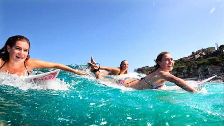 Rising stars of surf and screen (from left): Jess Laing, India Payne and Nikki van Dijk.