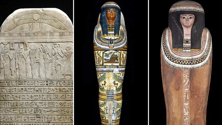 Egyptian artifacts, from left, a round-topped limestone stela, Nesperennub's cartonnage and Nesperennub's outer coffin.