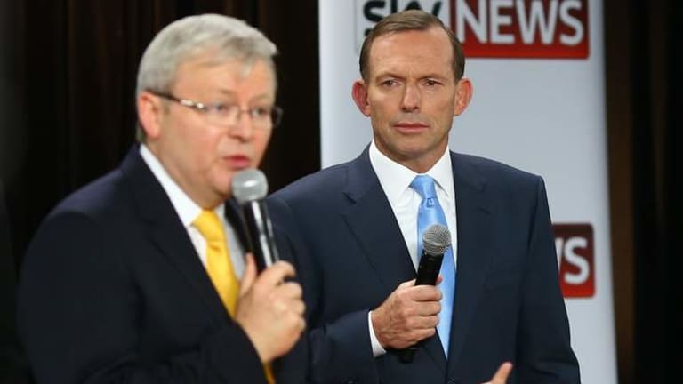 Prime Minister Kevin Rudd and Opposition Leader Tony Abbott at second leaders debate at the Broncos Leagues Club in Brisbane.