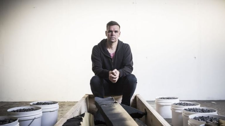 Lucas Davidson hopes to remain buried for an hour in his art installation at Verge Gallery.