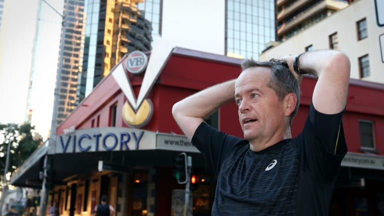 Opposition Leader Bill Shorten began his morning in Brisbane on Wednesday with a 6.5 kilometre run.