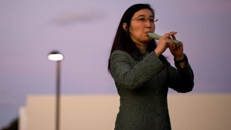 Innovation: Terumi Narushima plays the 3D-printed flute.