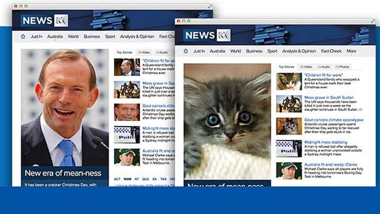 """The browser extension results in pictures of Tony Abbott being replaced with """"cute kittens""""."""
