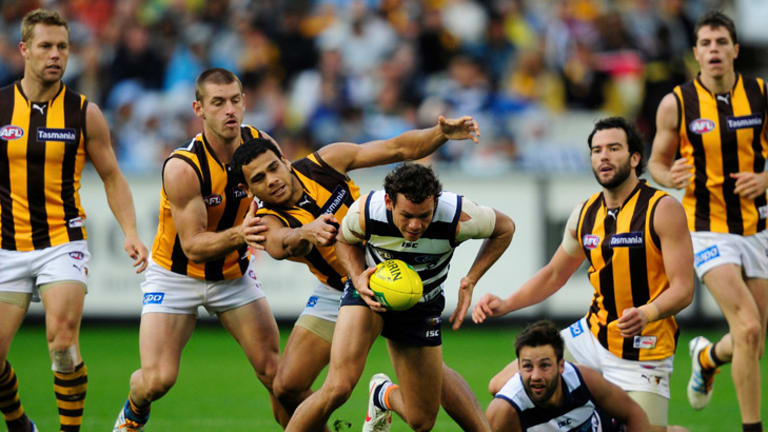 Geelong beat Hawthorn by two points in a thrilling tussle earlier in the season.