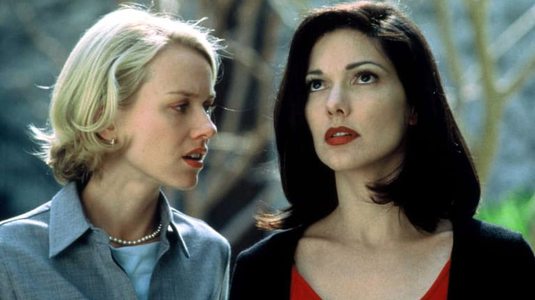 Naomi Watts, left, and Laura Elena Harring in <i>Mulholland Drive</i>, directed by David Lynch.