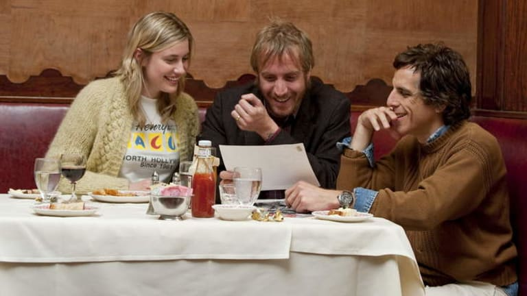 Greta Gerwig, Rhys Ifans and Ben Stiller in <i>Greenberg</i>.