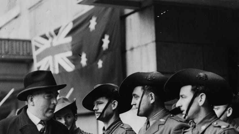Robert Menzies inspecting the Australian Guard of Honor, during a visit to the Ministry of Information, London, 1941.