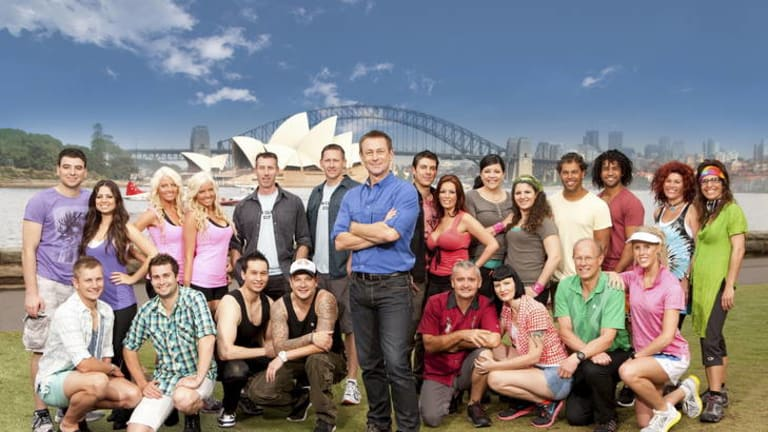 Host Grant Bowler (centre) brings together the contestants for season two of <i>The Amazing Race Australia</i> as the series launches in Sydney Harbour.