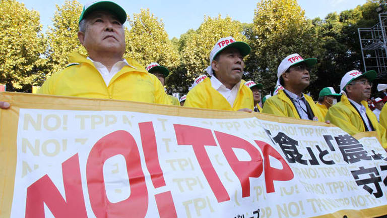Farmers hold a banner as they take part in a rally against Japan's participation for negotiations in the U.S.-led Trans-Pacific Partnership.