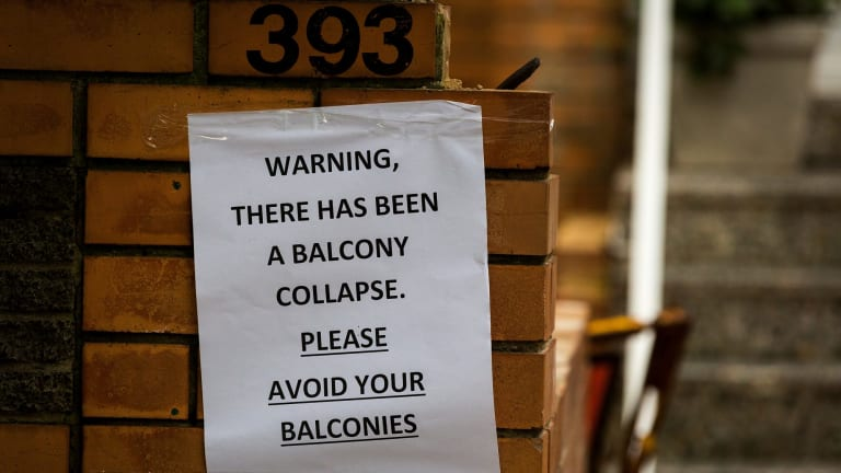 A warning notice was posted after the balcony collapse.