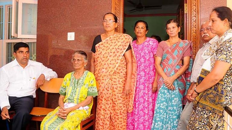 In mourning ... relatives of Jacintha Saldanha in Shirva town, India.