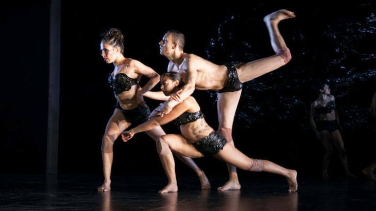 Bangarra Dance Theatre dancers, from left, Tara Gower, Jasmin Sheppard and Kaine Sultan-Babij.