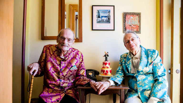 Peter Bonsall-Boone and Peter de Waal, who marched in first Mardi Gras. Bonsall-Boone is very ill and will likely die in coming weeks. It was his last wish to marry the man he has loved all his life and it is now clear that wish won't come true.