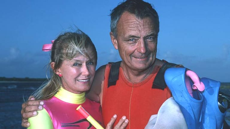 """""""Oz Jacques Cousteau"""" ... Ron Taylor and his wife Valerie in a file picture."""