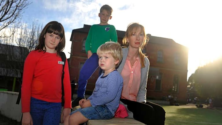 Worried: Clifton Hill Primary School parent Melanie White with her children Grace, Gabriel and Raphael.