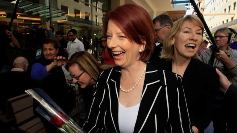 Former prime minister Julia Gillard campaigning with former Bennelong MP Maxine McKew, who criticised the Ms Gillard for her overthrow of former PM Kevin Rudd.