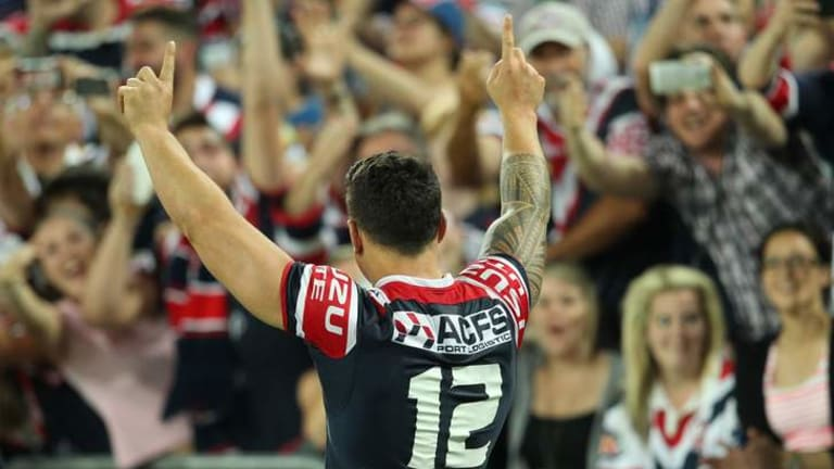 """""""I said to the boys that I'm going to wipe that first half, and I'm going to go out and play for them"""": Roosters star Sonny Bill Williams."""