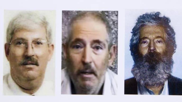 This FBI composite image shows Robert Levinson before his capture, in a video released three years ago and a picture of him with a beard in his fourth year of captivity.