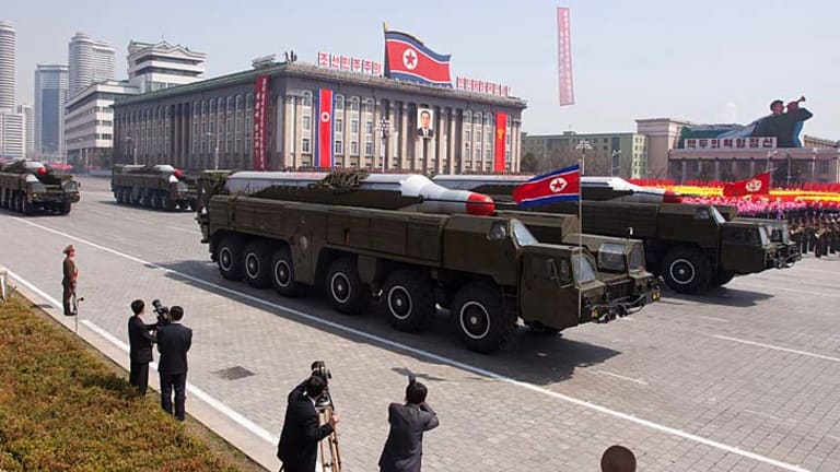 Testing times: Musudan-class missiles on display in April last year.