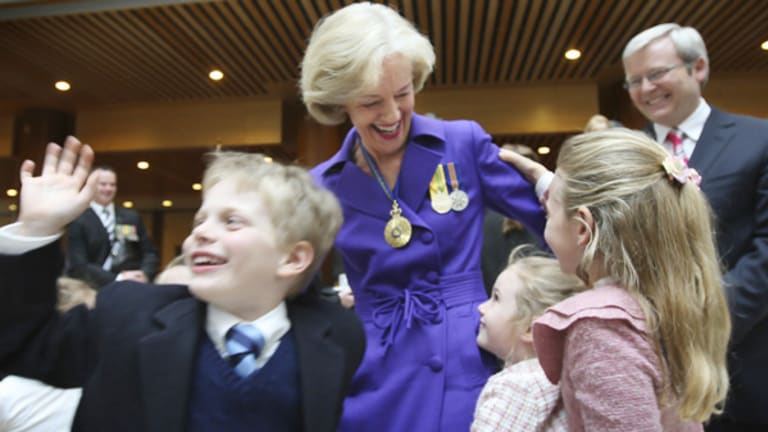 Quentin Bryce shares her delight with family after being sworn in as Governor-General.
