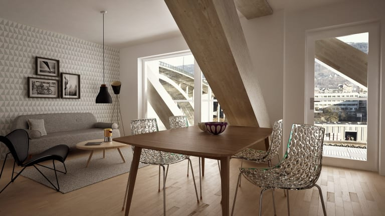 A view inside a Treet apartment, with timber beams prominent.