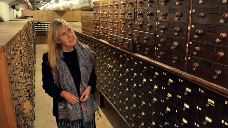 Victoria Thornton, of Open House Worldwide, tours the State Library's catacombs, which will be open to the public this weekend.