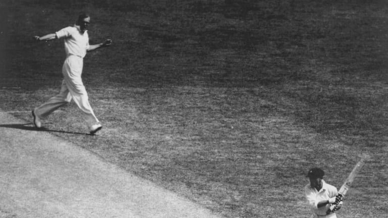 Don Bradman is bowled first ball by Bill Bowes during the second Test.