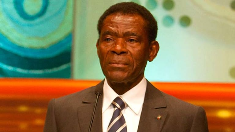 African dictator Teodoro Obiang Nguema Mbasogo, pictured, is the father of Teodoro Obiang Nguema Mangue.