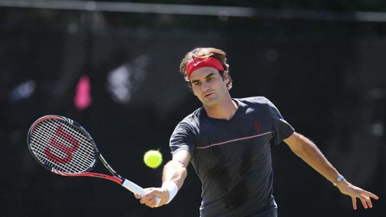 Star attraction ... Roger Federer practises at Royal Sydney Golf Club yesterday.