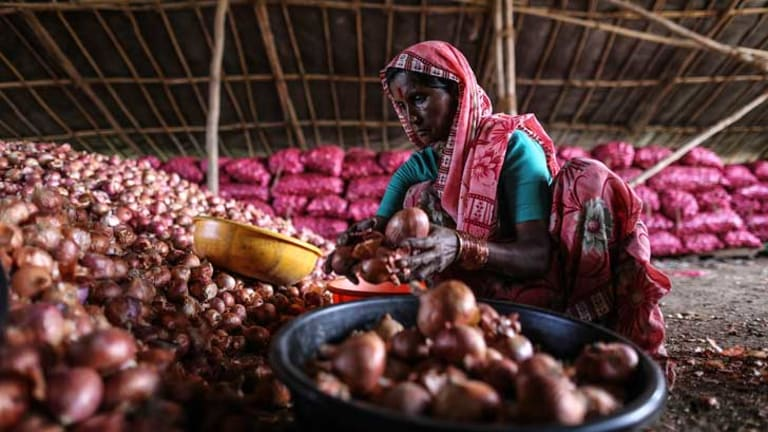 A labourer sorts onions inside a storehouse in Lasalgaon.